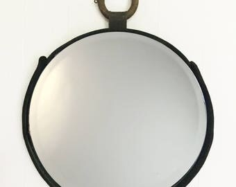 Leather Wood Ring Mirror (16-inch)