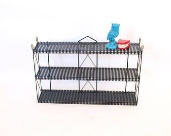 Vintage 50s mid century modern eames era black gold metal wire mesh wall shelf 3 tiered shelving unit hanging