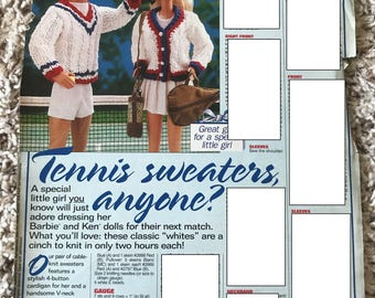 Tennis Sweaters for Barbie and Ken, 1999