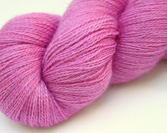 "Kettle Dyed Lace Yarn, Baby Alpaca, Silk, and Cashmere Lace Weight, in ""Hollyhock"""