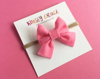 Pink Bow, Baby Girl Headband, Baby Headband, Sailor Bows, Schoolgirl Bow, Newborn Baby Bows, Baby Hair Bows, Girls Hair Clips, Headband