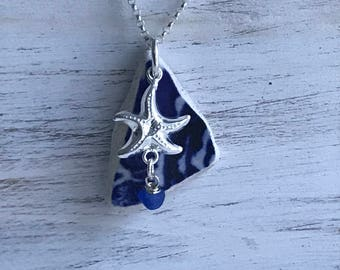Cobalt Blue Sea Glass and Sea Pottery Necklace, Atlantic Sea Necklace, Cobalt Necklace, Beach Bridal Wedding, Starfish Sea Pottery Necklace