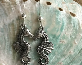 seahorse sterling silver wire earrings, lovers for life seahorse earrings, silver seahorse earrings, beachcomber earrings, beach wedding