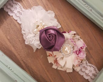 Shabby Chic Lace Flower Purple and White Pearl Lace Headband, Flower Baby Headband, Baby Headband, Flower Girl Headband, Rosette Headband.