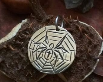 Spider on the net Brass engraved round pendant necklace Hobo coin jewelry charm