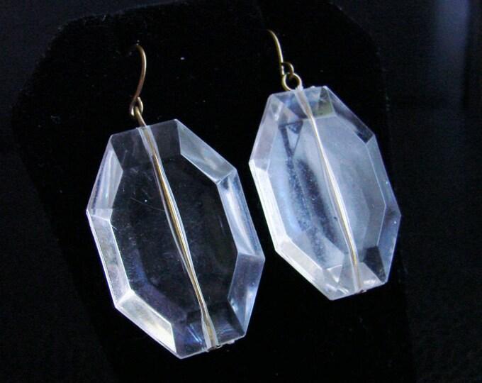Vintage Lucite Chandelier Earrings / Clear Lucite / Dangle Earrings / Drop Earrings / Wedding Bridal / Jewelry / Jewellery