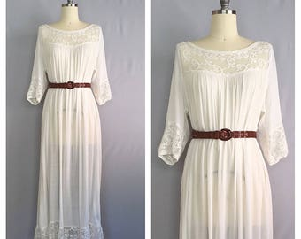 Boheme dress | vintage Indian lace dress | white summer kaftan dress | s - m - l