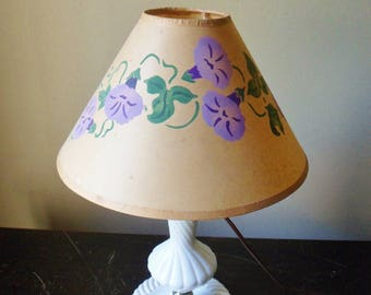 Morning Glory Lamp Shade, Hand Painted Parchment Paper Coolie Lamp Shade