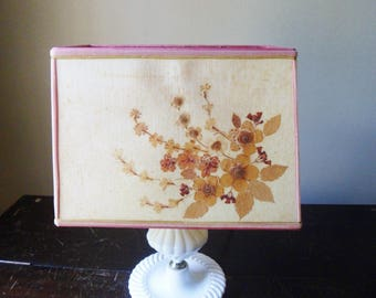 Handmade Signed Paper Lamp Shade, Early Botanical Linen Decoupage, Decoupage Lamp Shade