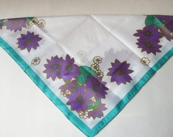 Purple Floral Scarf from Italy Trimmed in Green, Italian Neckerchief
