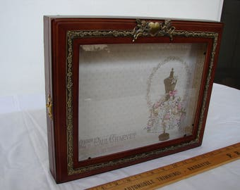 Vintage French,wedding keepsake,display box,wood & bevelled glass,brass ornate cupid decorations, frame for wedding tiara display.