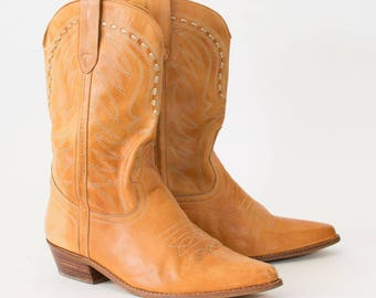 Vintage Brown Leather Cowboy Boots Indie Festival Women's UK 9 EU 43 US 11