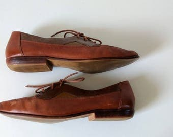 Vintage two tone leather brogues oxfords tie shoes size 7.5