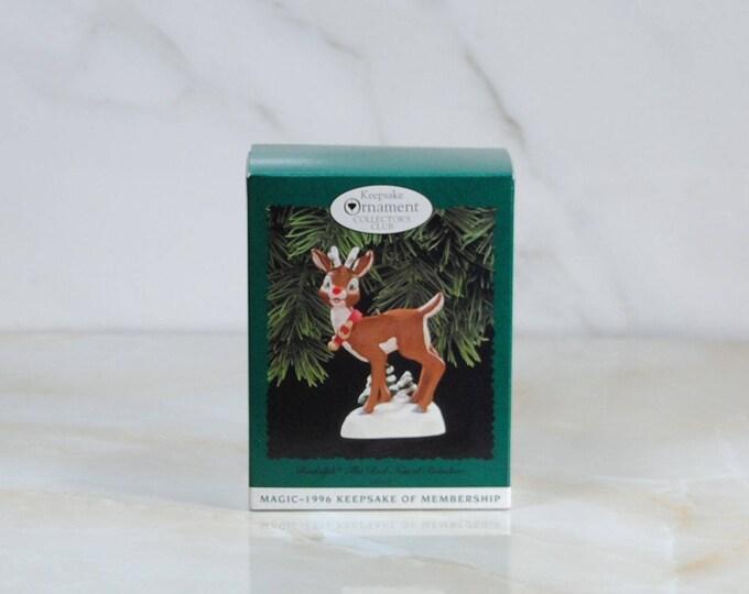 Vintage Hallmark Ornament, Rudolph The Red Nosed Reindeer, Keepsake Of Membership, Christmas Ornament, Keepsake Ornament, 1996, Hallmark