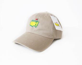 vintage baseball hat / Masters hat / 90s dad hat / 1990s NOS khaki Masters Augusta Georgia golf strap back hat