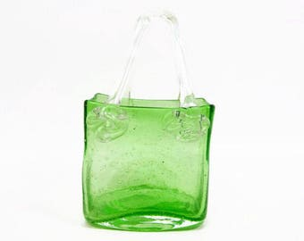 Vintage Murano Glass Purse Lime Green Art Glass Hand Blown Rose Accent Handles Polished Pontil
