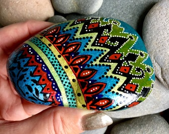 African Princess / painted rocks/ painted stones/ tribal art / boho art / hippie art / hand painted rocks / coffee table art / desk art