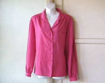 Vintage '80s Hot Pink Long Sleeve Blouse with Cute Front Pocket; Slightly Puffy Sleeves~Women's Med-Large Ship & Shore Top; Free Ship