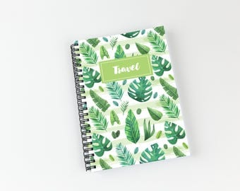 Writing journal, soft cover, book, blank spiral notebook, sketchbook, paper for notes, custom - tropical watercolor palm leaves pattern