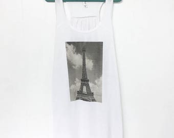 Paris Eiffel Tower Flowy Tank Top | Adult Tee Shirt Black and White | Photography | France Travel Clothing