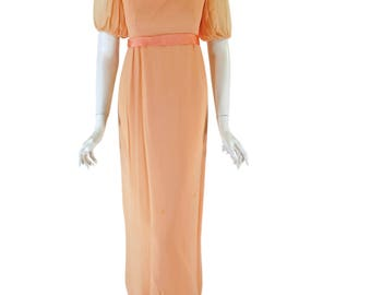 60s Peach Gown Chiffon Maxi Dress - sm, med