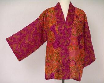 A Divine Purple, Fuchsia and Orange Cotton/Silk Jacket
