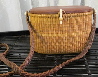 Vintage 90's Basketville Nantucket style cane on cane creel purse with braided leather strap