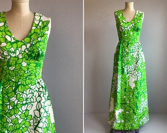 Vintage Malia Maxi Dress /  70s Hawaiian Mod Tropical Leaf Print Long Luau Sundress / Made in Hawaii