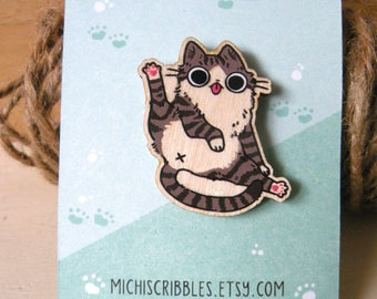 wooden cat butt brooch pin 1.5 inch - wooden jewelry, wood pin, pets, cat lover, accessories, illustrated jewelry