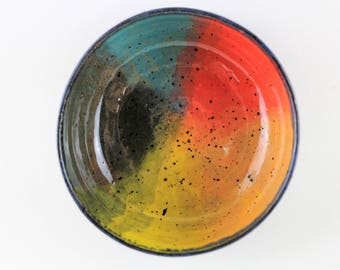 Rainbow ceramic bowl, handmade stoneware pottery, pet bowl (black matte A)
