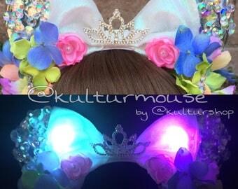 Ready to Ship LED Floral Pastel Rainbow Diamond Princess Anniversary Mouse Ears Flower Crown Headband Disneyland Diamond Celebration Minnie