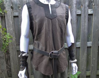 Leather Viking Tunic, Medieval Leather Shirt, Lace Up Sides, Sleeveless - Men's L