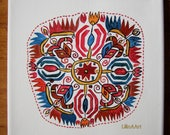 Eight pointed Star - Sun, Life - acrylic painting on canvas, original picture unframed, ethnic motif inspired by Bulgarian folk embroidery