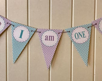 SWEET BIRDIE Highchair Banner 1st Birthday Party - Lavender Aqua - Party Packs Available