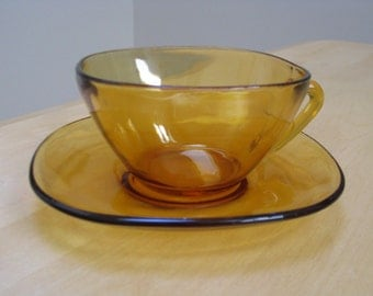 Vintage Vereco Amber Glassware Cup & Saucer Marked Vereco France