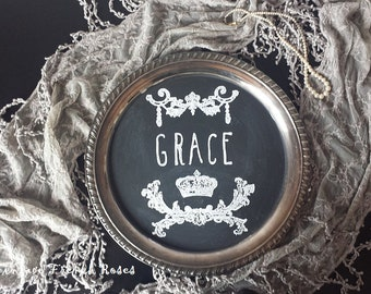 GRACE Chalkboard Tray Sign French Style Crown Floral Swag Kitchen Silver Serving Tray Wedding Romantic Shabby Cottage Farmhouse Style Decor