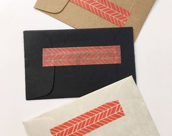 Rustic Party Favors Scent Sachets with Coral Geometric Trim Simple Wedding Favors Seed Packets Party Giveaways, Matte Black, Kraft Brown