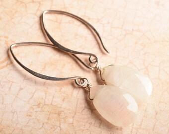 Moonstone Earrings, Long Gemstone Earrings, Sterling Silver Moonstone Earrings, June Birthstone
