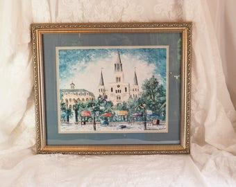 Framed Print- Street Scene Paris- Vintage print- Large- Double Matted- Nice!