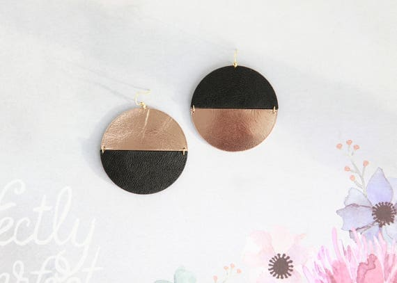 Large mismatched disc leather earrings- black and rose gold statement earrings- minimalist geometric earrings- contemporary earrings