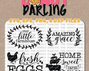 Instant Download: Farmhouse  svg eps png dxf Farm House Fresh Eggs Rustic SVG, Amazing Grace, Home Sweet Farm, Our Little Farmhouse bundle