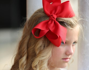 Red Extra Large Hair Bow - XL Hair Bows, Red Hair Bows, Extra Large Hair Bows, Christmas Hair Bows, Valentine Hair Bows, Large Red Hair Bows
