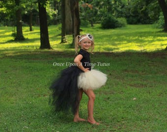 Ivory and Black Bustle Tutu - All Sizes Newborn 3 6 9 12 Months 2T 3T 4t 5t 6 7 8 10 12 Teen Adult First Birthday Skirt Halloween Costume