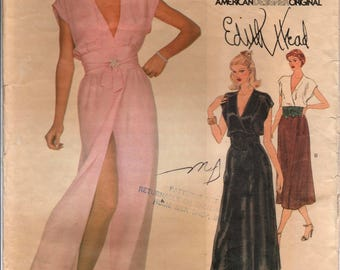 """1970's Vogue American Designer Evening Dress or Day Dress with deep V neck and Obi belt pattern - Edith Head - Bust 32.5"""" - No. 2040"""