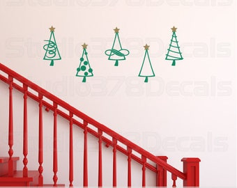 Christmas Trees - Vinyl Wall Decals - Christmas wall decals - Christmas Decorations - Vinyl Christmas Trees - Set of 5 - 4 x 8.5 each