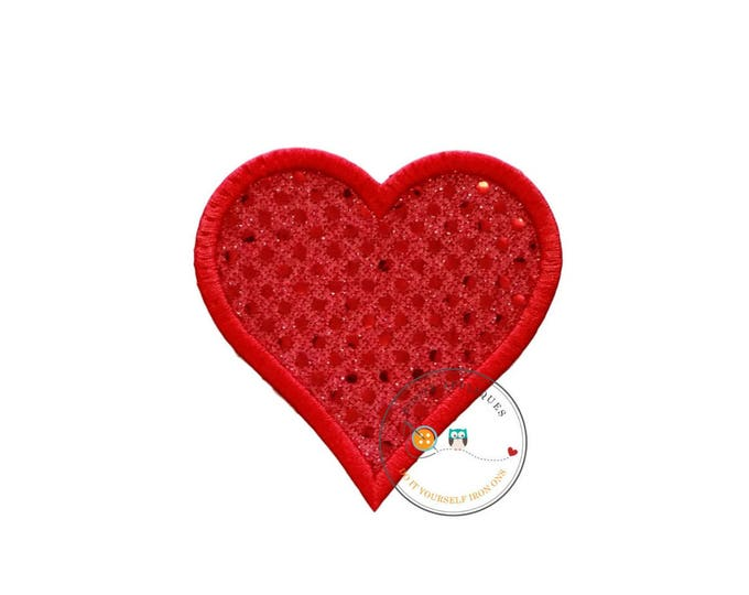 Red sequin 4x4 heart iron on applique, queen of hearts machine embroidered no sew fabric patch, free personalization, ships in 72hrs