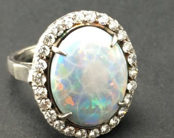 Lady's Australian Opal and Diamond Ring with Sterling Mounts