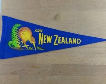 Vintage New Zealand Pennant, Kiwi Souvenir Pennant,  Felt Tourist Flag, NZ