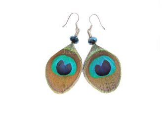 Petite Peacock Earrings, Trimmed Peacock Feather Earrings with Blue Bead, Peacock Jewelry,  Small Peacock Feather Earrings