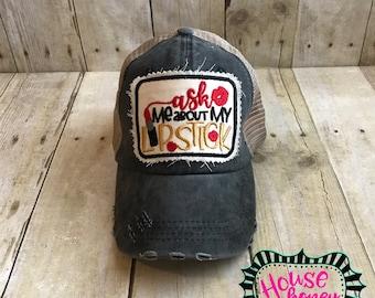Lip Boss Hat - Ask Me About My Lipstick -Gloss Boss Hat - Lipsense Hat - Trucker Hat